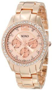 Loving this! want one. XOXO Women's XO5477 Rose Gold Bracelet With Rhinestones Accent Bezel Watch