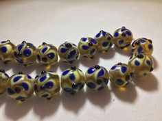 *Gold & Blue Bumpies* Quality Glass Lampwork Beads {1String} #GBBL  | eBay