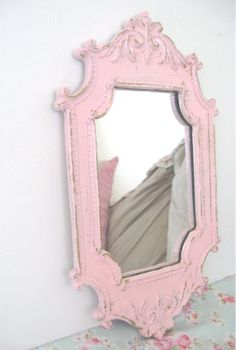 Shabby Chic Pink Wall Mirror VERY Ornate Flourishes Chippy Distressed Cottage Paris Victorian Flourishes Romance by VintageChicPleasures on Etsy