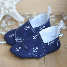 Baby Boy Shoes - Navy Blue Nautical Loafers