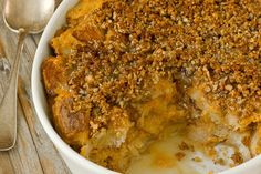 Recipe: Sweet Potato Bread Pudding with Pecan Streusel & Whiskey Sauce — Recipes from The Kitchn