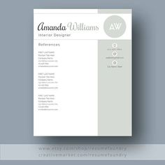 Resume References Page Resume Template 13 Page Resume  Cover Letter  Reference Page .