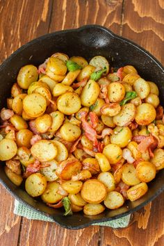 Pan-Fried Fingerling Potatoes with Bacon (I'm going to add shredded Brussels sprouts instead of Rosemary and garlic)