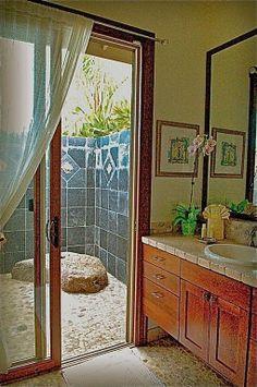 Indoor bath, outdoor shower