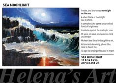 PAINTINGS AND POETRY In A Heartbeat, Moonlight, Poetry, Waves, Paintings, Bird, Paint, Painting Art, Birds
