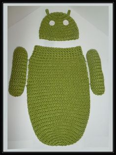 Android hat and cocoon !  crocheted for newborns