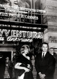 """Monica Vitti with Antonioni in Paris in 1960 at a showing of his most acclaimed film, """"L'Avventura. Future People, Michelangelo Antonioni, Talk Too Much, Vintage Paris, People Talk, Historical Photos, Classic Hollywood, Shanghai, Lonely"""