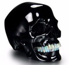 Huge-5-3-034-BLACK-OBSIDIAN-Carved-Crystal-Skull-with-Opal-Teeth-Sculpture-047