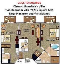 Disney's BoardWalk Villas Two Bedroom Villa Floor Plan from yourfirstvisit.net