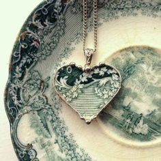 Antique teal ivy English transferware jewelry from Dishfunctional Designs