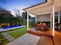 Outdoor living design with bbq area from a real Australian home - Outdoor Living photo 334214 Outdoor Pool, Pool Gazebo, Outdoor Dining, Outdoor Living Areas, Pergola, Bbq Area, House Yard, Australian Homes, Pool Landscaping