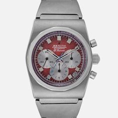 """Why This Watch Matters A vintage watch that looks like it comes from the future, with a case that is as tonneau as tonneau gets. The Full Story Introduced in 1971, and produced in a run of about 1,000 examples, the El Primero A781 rocks the blockindexes and """"smoke"""" dial of its A782 and A783 brethren, but with a vibrant burgundy red dial. The sub-dials themselves are a smokey grey-silver, and are boldly oversized. Say what you will about date windows, this one between 4 and 5 o'cloc..."""