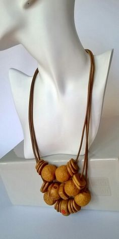Gold beads necklace, hand made polymer clay huge beads, triple leather cord
