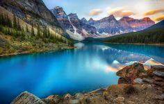 Góry, Las, Jezioro, Skały