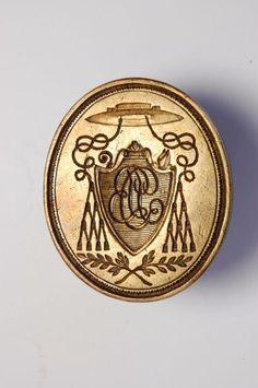 Fine 19th French Bishop Catholic brass wax desk seal