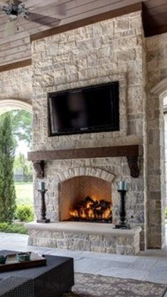 38 Trendy Covered Patio With Fireplace Hearth Fireplace Bookcase, Cabin Fireplace, Fireplace Remodel, Fireplace Ideas, Mantel Shelf, Patio Furniture Makeover, Iron Patio Furniture, Furniture Design, Floating Fireplace