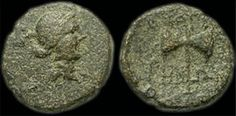 Coin from Thyatira with head of Apollo and double-headed battle-axe, similar to those represented on Hittite sculptures, 2nd century BC.  Thyatira was among the first cities to use money and much of the knowledge of ancient Thyatira comes from the images on these coins: baskets of fruit, serpents, double-sided battle axe, Apollo and Artemis, Cybele, Roman emperors and local governors, sports and festivals.