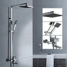 """8"""" Wall Mounted Square Bath Shower Rail Including Shower Head ARM Mixer TAP SET 