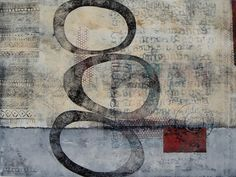 "A Theme on Variation, by Anne Moore, monotype with chine colle, 18""x 24"""
