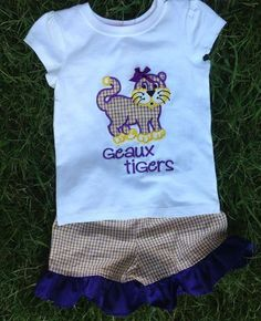 Smock Your Tot - Purple and Gold tri check Shorts with Appliqued Tiger Shirt or Onesie, $39.95 (http://www.smockyourtot.com/purple-and-gold-tri-check-shorts-with-appliqued-tiger-shirt-or-onesie/)