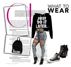 """""""Chill Mode"""" by springseason2004 on Polyvore featuring Converse, Moschino, women's clothing, women, female, woman, misses and juniors"""