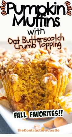 These easy homemade pumpkin muffins with oat butterscotch topping are by far the best pumpkin muffins you will ever make. A savory sweet pumpkin batter with a hint of butterscotch topped with sweet oat butterscotch crumble...deluxe fall goodness...right here!!! Best Pumpkin Muffins, Banana Bread, Homemade, Breakfast, Sweet, Easy, Desserts, Food, Postres