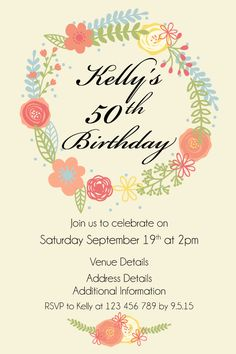 50th Womens Birthday Party Digital Printable Invitation Template