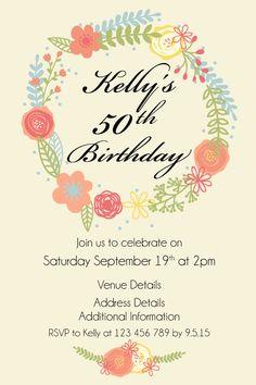 50th Womens Birthday Party Digital Printable Invitation Template