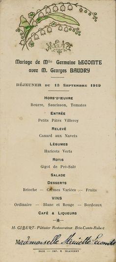 13 septembre 1919 -  Menu de mariage -  Bibliothèque municipale de Dijon — FR212316101__menus__M_0II_01204