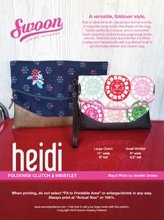 Looking for your next project? You're going to love Swoon Heidi Foldover Clutch & Wristlet by designer Swoon Patterns.