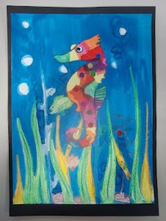 Rainbow Seahorses inspired by Eric Carle  from: Once upon an Art Room