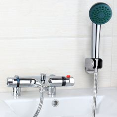 Rainfall Thermostatic Spray Shower Mixer Tap Chrome Bathtub Hand shower Faucet #besthome2008