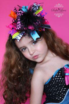 Cheetah Rock Explosion Bling Over the Top Hair Bow with matching headband on Etsy, $19.99