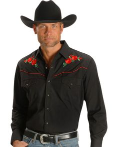 A western classic! This Ely Cattleman shirt features an embroidered rose design and red piping on front and back yokes. Two front snap flap pockets. Fancy wild rose embroidery on front and back. Chambelanes, Westerns, Mexican Outfit, Mexican Dresses, Cowboy Outfits, Cowboys Shirt, Western Shirts, Western Wear, Hats For Men