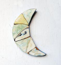 Blue Moon Wall Art Reclaimed Wood Art Crescent Moon by woodenaht