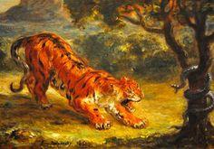 Tiger and Snake - Eugene Delacroix - Completion Date:1862