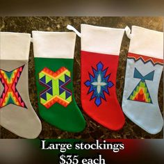 Applique Stockings Christmas Makes, Christmas Art, Christmas Tree Ornaments, Christmas Stockings, Fancy Shawl Regalia, Native American Decor, Native Design, Nativity Crafts, Native Beadwork