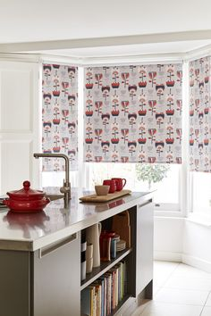 Experiment with a bold and fantastic folk pattern to add some vibrant designs and a pop of colour to your home with the Imrie Scarlet Roller blind from our House Beautiful collection. Featuring a range of different colourways in a folk art flower design for a cosy feel that is a perfect match for bright and neutral style, the perfect style for your kitchen. Find out useful tips on how to dress your windows. Made To Measure Blinds, New Kitchen, Kitchen Ideas, Roller Blinds, Interior Design Kitchen, Beautiful Homes, House Beautiful, Shutters, Scarlet
