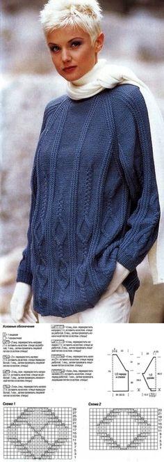 Синий пуловер спицами. - Вязание - Страна Мам