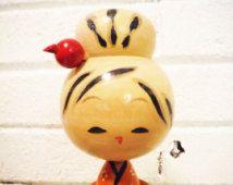 Vintage Kokeshi poupée en bois décor japonais Japon art folklorique traditionnel