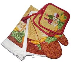 7 Piece Wine and Grapes Kitchen Set with Potholders Oven Mitt Dish Cloths  Towels >>> Visit the image link more details.