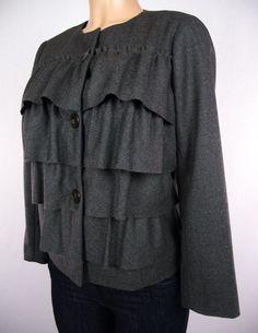 J CREW Jacket Size 4 S Gray Ruffle 100% Wool Tiered Career Blazer #JCrew #Blazer