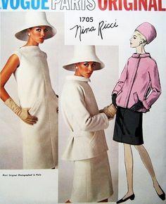 1960s Mod NINA RICCI Dress and Jacket Pattern VOGUE PARIS ORIGINAL 1705 Slim Bias Shift Dress Fab Jacket Daytime or Evening Bust 31 Vintage Sewing Pattern