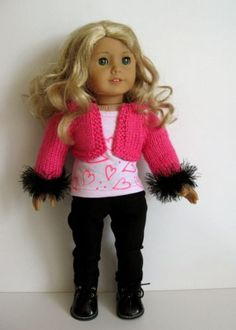 """VALENTINE'S DAY outfit 18"""" American Girl AG DOLL clothes hand knitted 3pc set"""