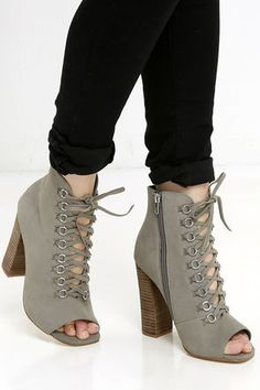 Steve Madden Freemee Grey Nubuck Leather Peep-Toe Booties