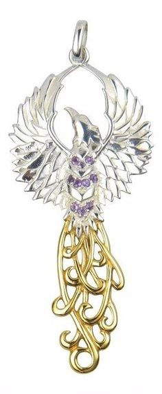 Phoenix rising pendant large handcrafted gold tone bronze fire sun sterling silver and gold rising phoenix pendant charm with purple amethyst aloadofball Images