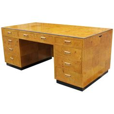 Incredible Henredon Burl Executive Desk | From a unique collection of antique and modern desks and writing tables at https://www.1stdibs.com/furniture/tables/desks-writing-tables/