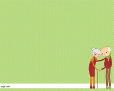 Elderly PowerPoint Template background over green color