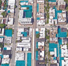 A view of Chicago's Edgewater neighborhood, with parking land use highlighted in teal. Credit: Center for Neighborhood Technology Land Use, The Neighbourhood, Teal, Urban, Technology, Park, City, Tech, Parks