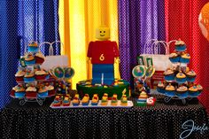 Lego birthday party - Lego dessert table